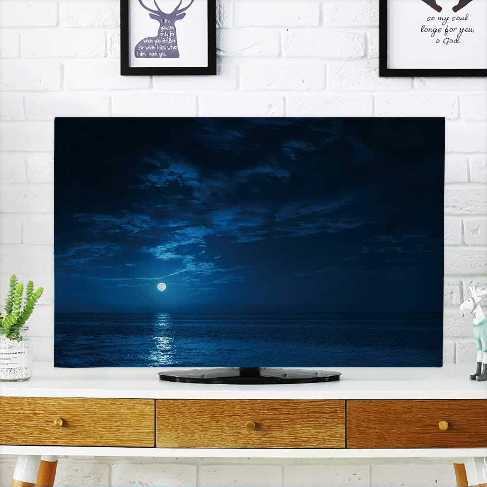 PRUNUS tv Protective Cover a deep Blue Moonlit Ocean at Night with Calm Waves Would Make a Great Travel tv Protective Cover W19 x H30 INCH/TV 32''