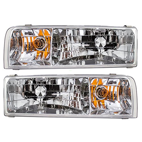 (Driver and Passenger Headlights Headlamps Replacement for Lincoln F5VY 13008 B F5VY 13008 A AutoAndArt)