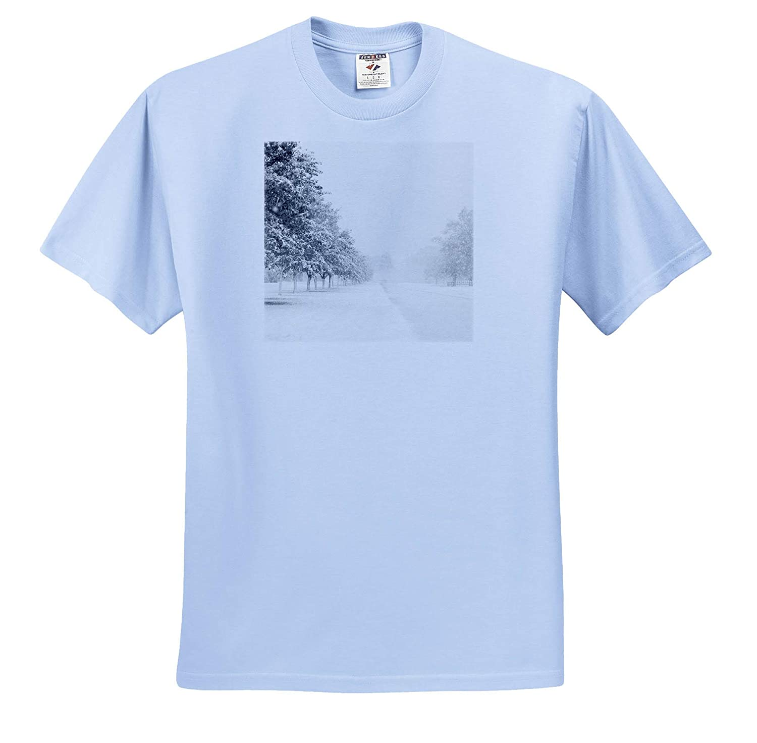 Photograph of a Road Lined with Trees with Freshly Fallen Snow Winter - T-Shirts 3dRose Stamp City