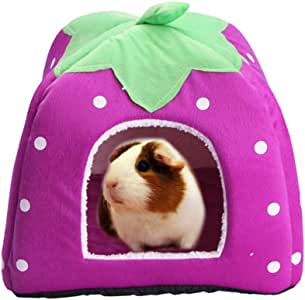 """FLAdorepet Rabbit Guinea Pig Hamster House Bed Cute Small Animal Pet Winter Warm Squirrel Hedgehog Chinchilla House Cage Nest Hamster Accessories (9"""" 9"""" 10"""", Purple)"""