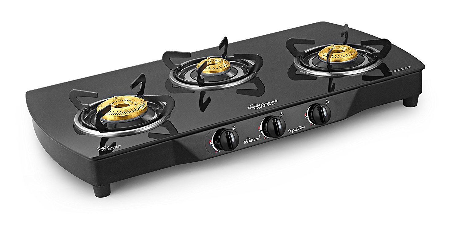 Sunflame Crystal Plus 3 Burner Gas Stove, Black