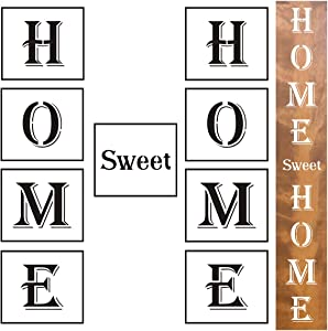 Large Home Sweet Home Stencils - 9 Pack Vertical Home Sweet Home Sign Stencil Templates for Painting on Wood, Reusable Letter Stencils for Front Door Porch Signs