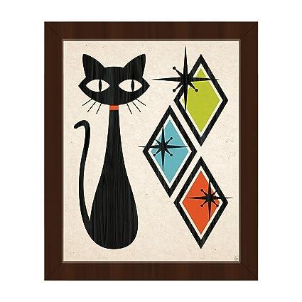 2fce6c8c325 Retro Cat With Diamonds Green Blue And Orange  Mid-Century Retro Modern  Postmodern Geometric