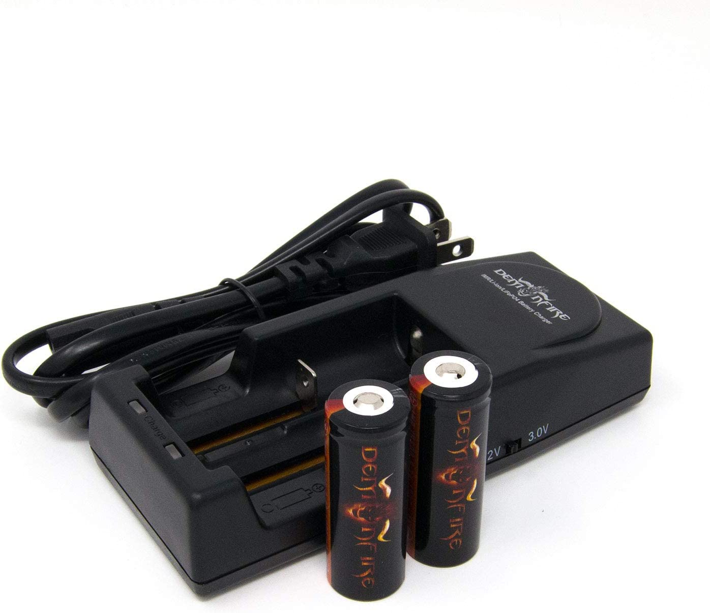 4 Piece IMR 18500 1300mAh 3.7V High Drain LiMn Demonfire Rechargeable Battery with Button Top