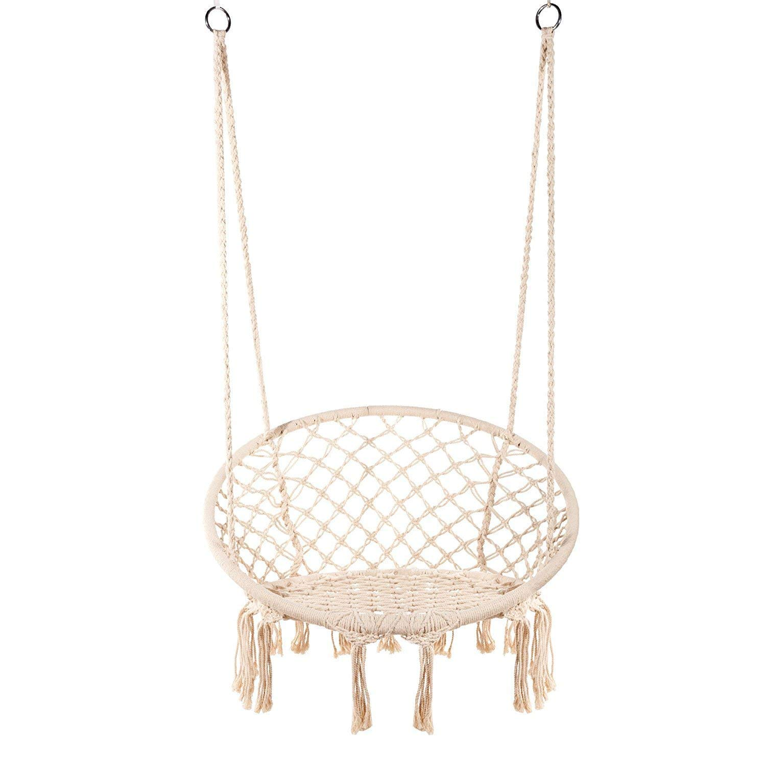 Lelly Q Hammock Chair Macrame Swing Nordic Style Handmade Hanging Chair Swing Chair – Max. 265 Lbs Seat for The Living Room,Yard,Garden, Balconyor Spaces – Max. 265 lbs – 2 Seat Cushions Beige