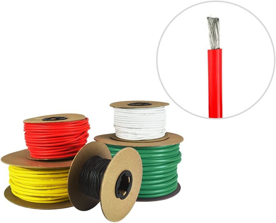 and White Yellow Tinned Copper Boat Battery Cable Red Made in The USA 8 AWG Marine Wire Green Available in Black