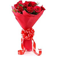 Floralbay Red Roses Bouquet Fresh Flowers in Paper Wrapping