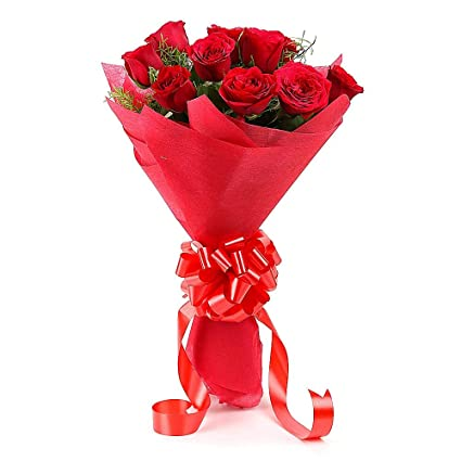 Floralbay Red Roses Bouquet Fresh Flowers In Paper Wrapping Bunch Of 15 Bunch Of 8