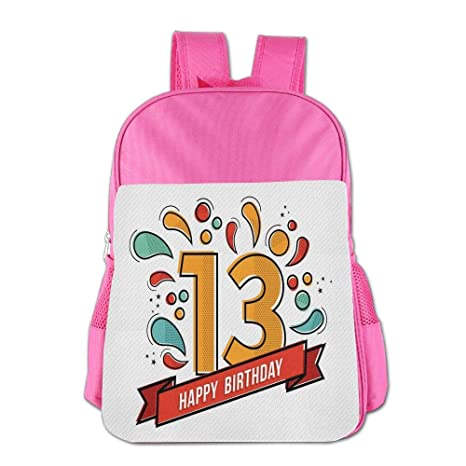 Haixia Students BoysGirls Backpacks 13th Birthday Decorations Modern Line Art Greeting For Thirteen