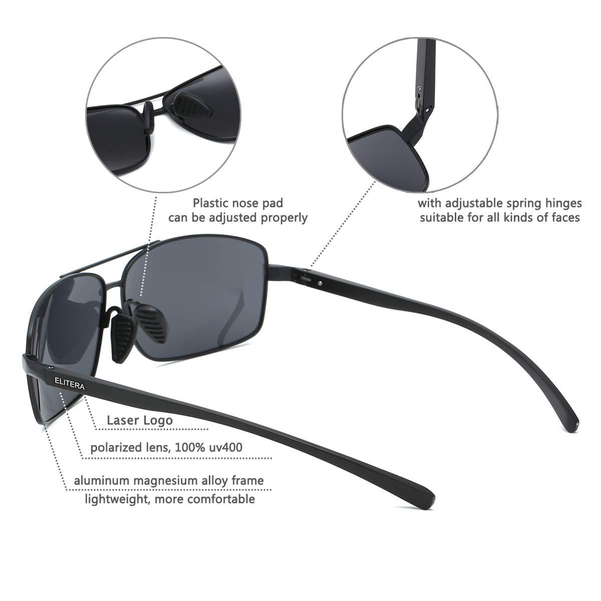 efffc7fc62 Amazon.com  ELITERA Lightweight Square Polarized Sunglasses For Men UV400  protection E2458 (black black gray