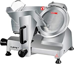 Meat Slicer, Kuppet Electric Food Slicer, Removable 8'' Stainless Steel Blade and Food Carriage, Deli Food Slice Adjustable Thickness Food Slicer Machine for Meat, Cheese, Bread(150W)