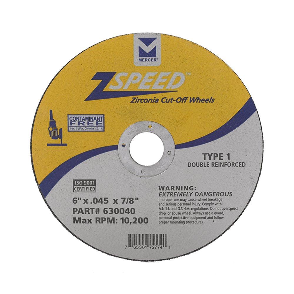 Mercer Industries 630040 Type 1 Zspeed Zirconia Cut-Off Wheel, Double Reinforced, Ferrous Metals & Stainless Steel, 6'' x .045 x 7/8'', 25 Pack