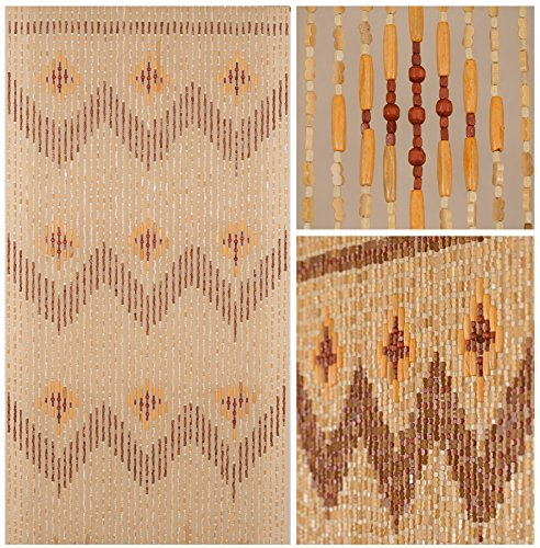 - BeadedString Natural Wood Bamboo Beaded Curtain-45 Strands-77 High-Bamboo Wooden Doorway Beads-Boho Bohemian Curtain-35.5
