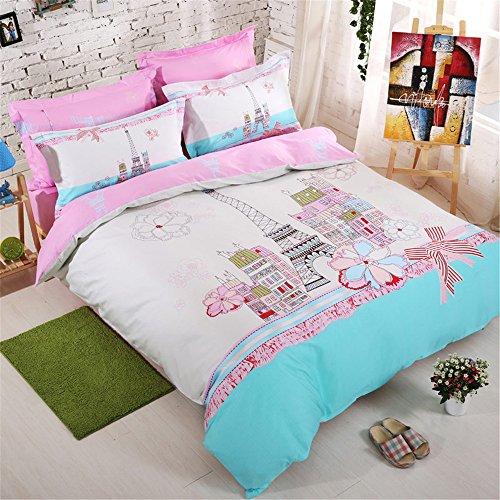 Bleach Cotton Sheet Set - Lazzaa Urban Paris Eiffel Tower Bedding Pink Queen Girls Duvet Cover Set 100% Cotton 4 Pieces, Not Included Comforter