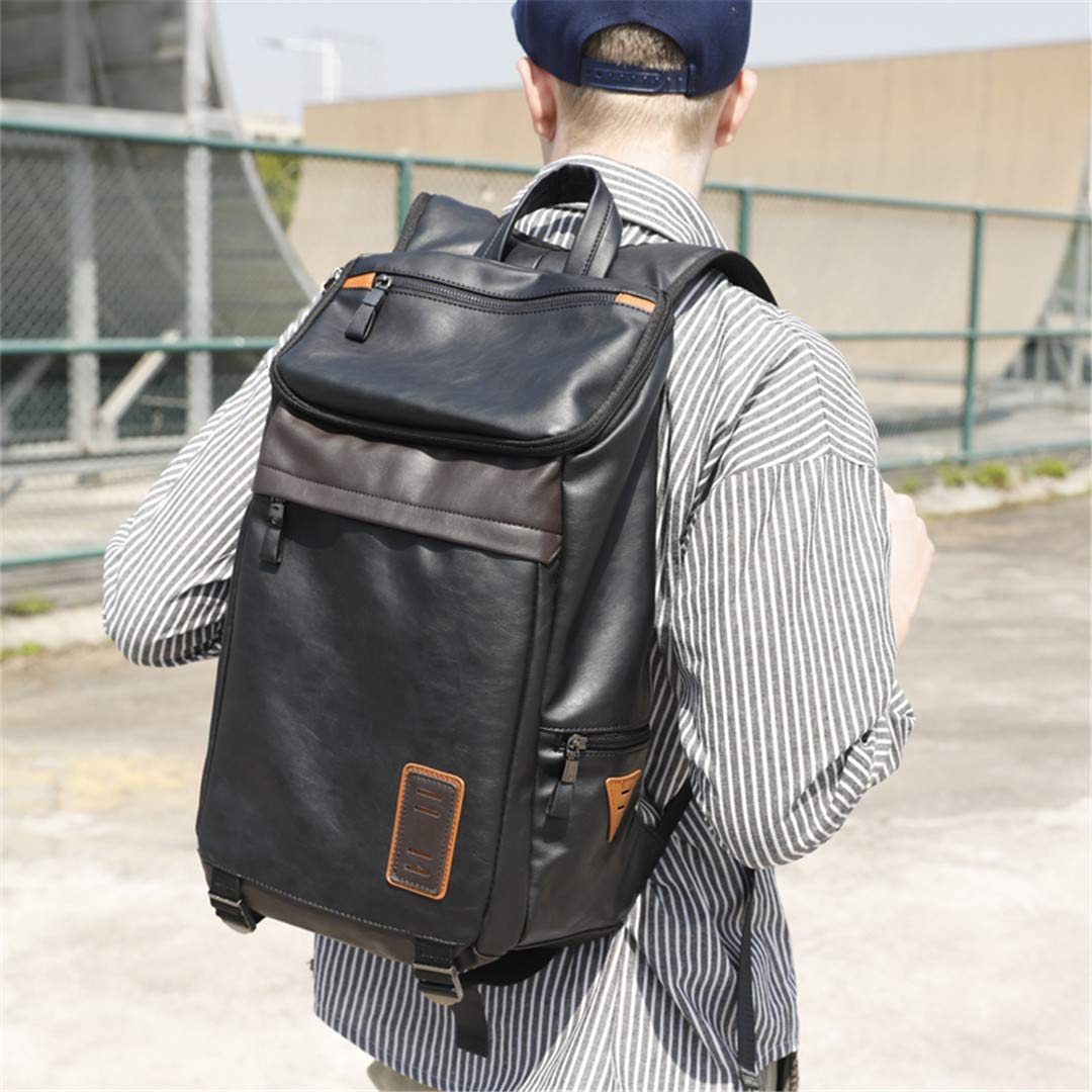 Color : Black, Size : One size Willsego Leather Men Laptop Backpack Fashion Large Capacity Travel Teenage Schoolbag Male Rucksack Kanken Black