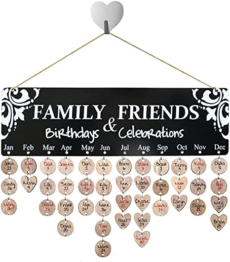 Family /& Friends Wooden Hanging Calendar Board Birthday Reminder Plaque