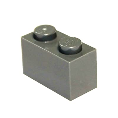 LEGO Parts and Pieces: Dark Gray (Dark Stone Grey) 1x2 Brick x200: Toys & Games