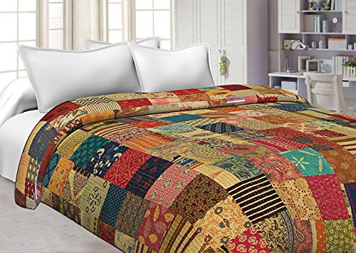 Sophia Art Indian Handmade Sari Kantha Quilt Block Print Floral Patchwork Bedspread Blanket Twin Throw Quilt 60X90 Inches