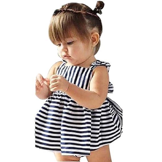 2018 Vestir Vestido Para Bebés, Ropa Infantil Verano BañAdor Traje Stripe Vestido Sin Espalda Breve
