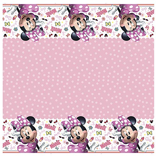 Unique Disney Iconic Minnie Mouse Rectangular Plastic Party Table Cover, 54