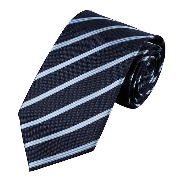 Krawatte Kravatte Binder Hochzeit Schlips Busniess gestreift Dunkelblau 45