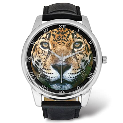 Relojes para hombre con correa de piel para hombre, color jaguar, correa de piel negra: Amazon.es: Relojes