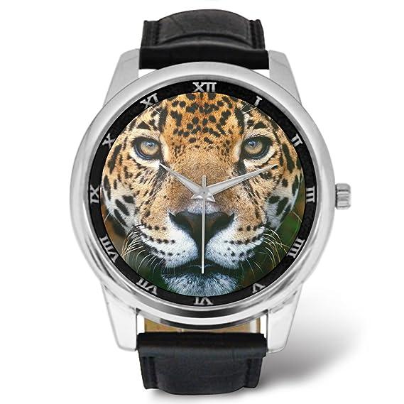Relojes para hombre con correa de piel para hombre, color jaguar, correa de piel