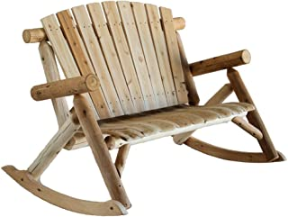 product image for Lakeland Mills Cedar Log Rocking Love Seat, Natural (Discontinued by Manufacturer)