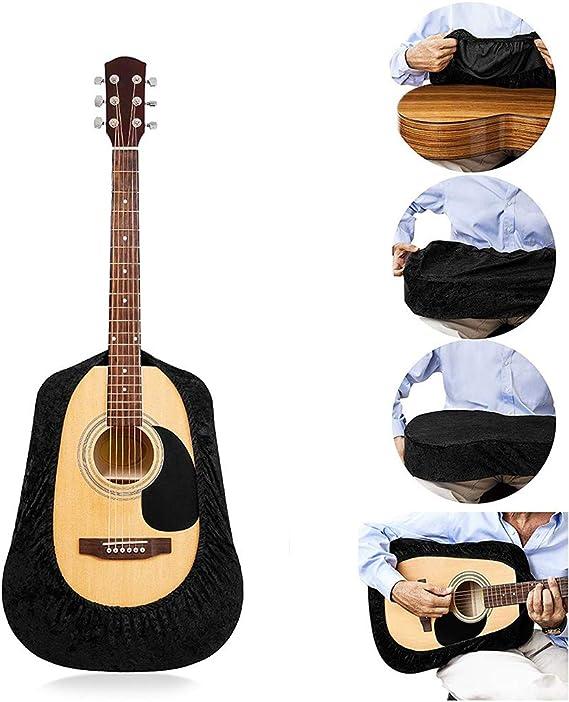 BestEU Funda protectora de terciopelo para guitarra acústica, clásica, flamenco, arco superior y guitarras Cutaway, color negro, negro: Amazon.es: Instrumentos musicales