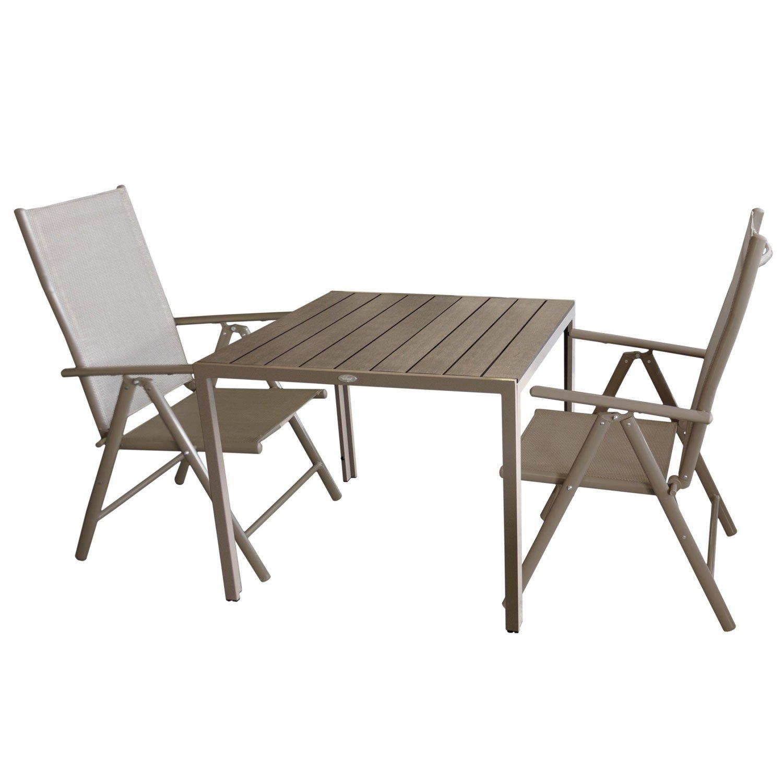 3tlg. Bistrogarnitur Aluminium Gartentisch mit Polywood Tischplatte, Champagner / Mokka 90x90cm + 2x Hochlehner mit 7-fach verstellbarer Rückenlehne Textilenbespannung Gartengarnitur