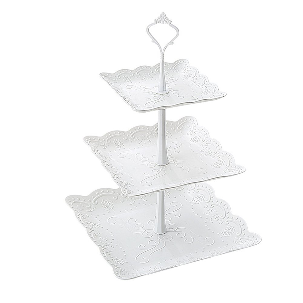 Kingsnow 3-Tiered White Pastry Stand Cake Stand Dessert Stand Cupcake Stand Holder Serving Platter for Party Wedding Home Decor