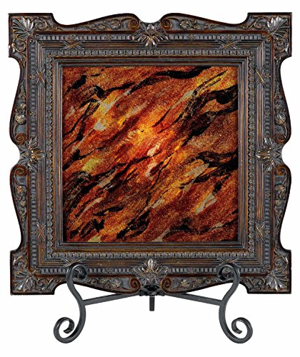 Dark Bronze 25 Watt 17.5in. Tuscan Resin/Glass Lighted Charger Plate with Reverse-Painted Glass and Ornate Frame