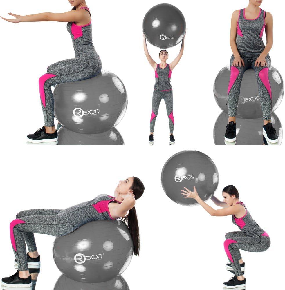 REXOO Robuster Gymnastikball Fitnessball Sitzball Balanceball Sportball Pumpe in verschiedenen Gr/ö/ßen und Farben