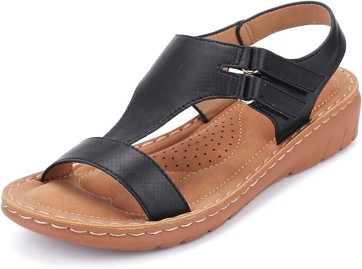 gracosy Sandalias Mujer Verano Sandalias de Playa Flat Punta Abierta Cuña Sandalias Casual Caminar Sandalias Antideslizante Zapatos Tobillo Correa Slingback Ligero