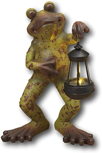 """Mission Gallery Darling 14"""" Standing Garden Frog Holding Solar Lighted Lantern Lawn Ornament Made of Resin"""