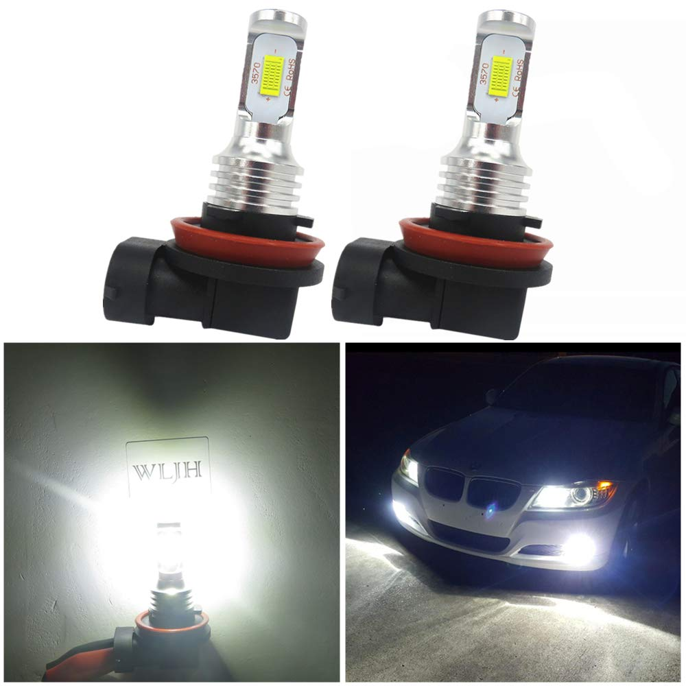 Pack of 2 OXILAM 9145 9140 H10 LED Fog Light Bulbs Super Bright 2600 Lumens CSP Chipset for Fog-Lights or DRL Replacement 6000K Xenon White
