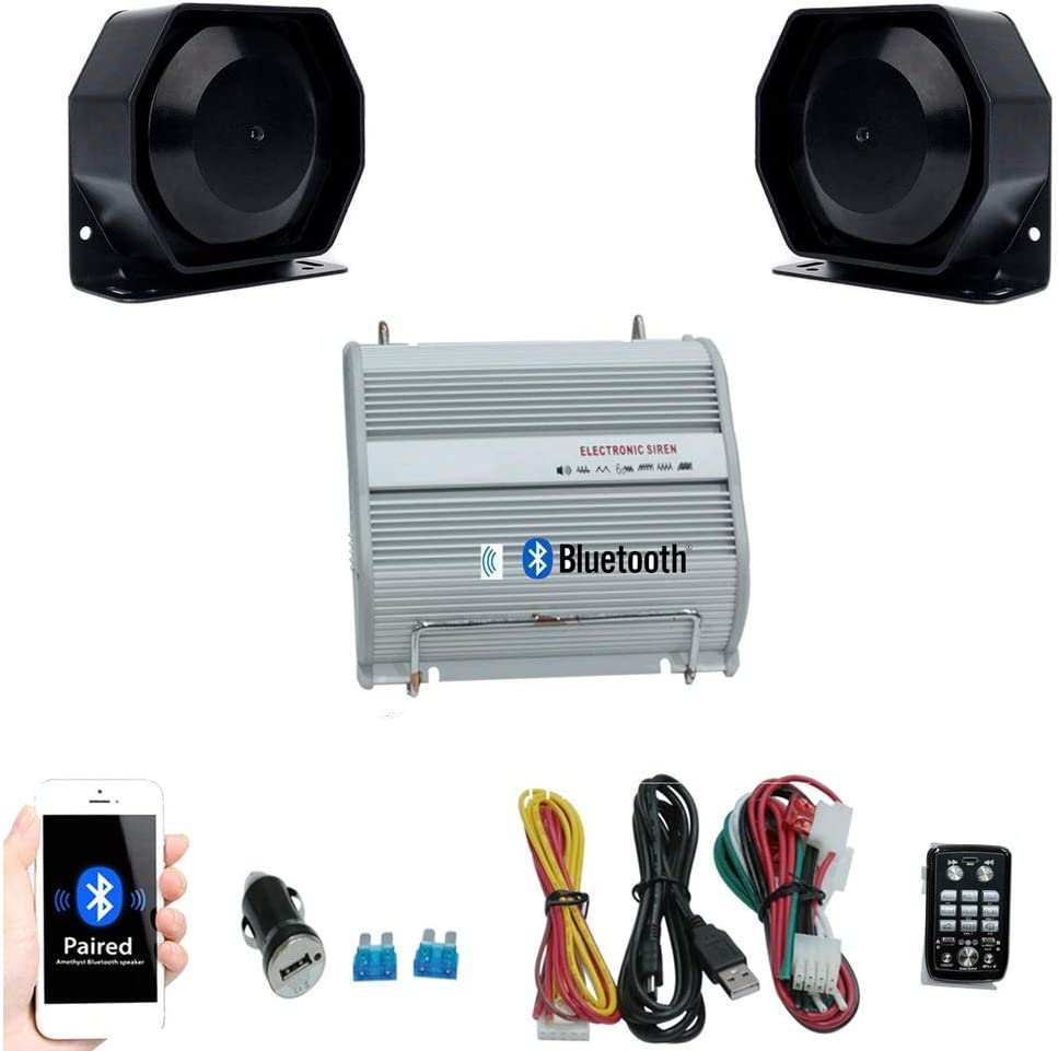 BEUTO Kit of Bluetooth Control 400W DC12V Car Truck Trailer 8 Sound Tones Loud Alarm Horn Siren Speaker Auto Police Fire Horn PA Siren for Crowd Warning