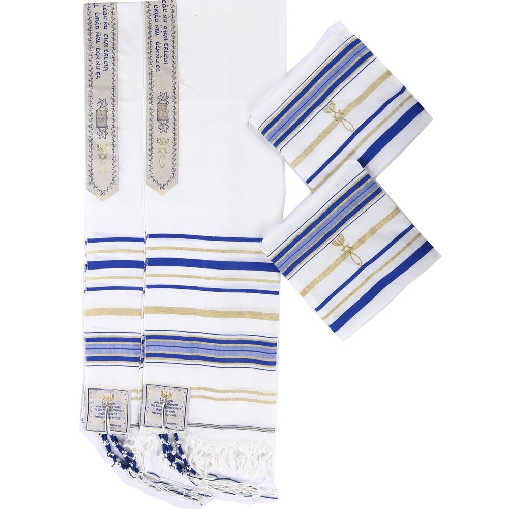 Star Gifts 2pcs Pack Royal Blue and Gold Color Messianic Tallit Prayer Shawl 72''X22''