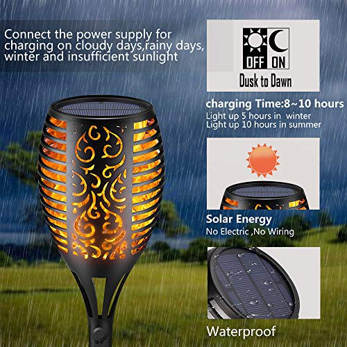 Solar Torch Lights,Waterproof Flickering Flame Torch Lights Outdoor Solar Spotlights Landscape Decoration Lighting Dusk to Dawn Security Path Light for Garden Patio Deck Yard Driveway (4 Pack) by Larkin (Image #1)