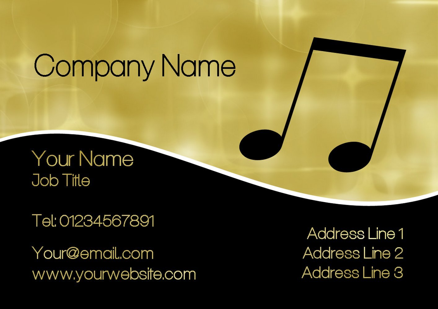 Gold Black Music Personalized Business Cards