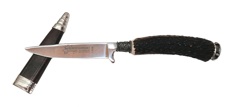 Trachtenmesser mit Hirschhorngriff und Wappen
