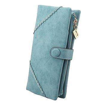 Billetera de Mujer,Cozyswan Cartera de Cuero Bolso botón Cartera De Mujer (Azul Claro): Amazon.es: Equipaje