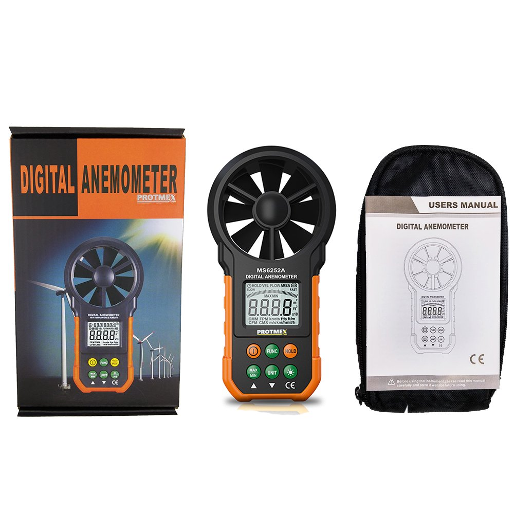Digital Anemometer PROTMEX MS6252A LCD Backlit Wind Meter Air Volume Meter Wind Gauge with Multifunction Buttons for Windsurfing Kite Flying Sailing Surfing Fishing
