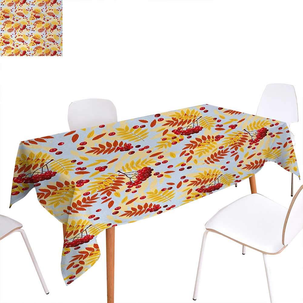 Warm Family Rowan 長方形テーブルクロス 幾何学模様 ヴィンテージパターン 秋の季節 ベリーマウンテンフルーツ 長方形 しわ防止 テーブルクロス 50インチx80インチ オリーブグリーン レッド ブラック W70