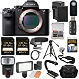 Sony Alpha A7S II 4K Wi-Fi Digital Camera Body with (2x) 64GB Cards + Battery & Charger + Case + Flash + LED Light + Microphone + Tripod + Kit