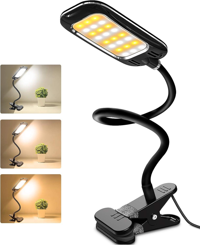 LED Desk Lamps, HOKEKI Bedside Lamp, Table Lamps for Bedroom, clamp Light, Office Lamp, 3 Lighting Modes, Adjustable Brightness, USB Charging, 360° Flexible Gooseneck Book Light