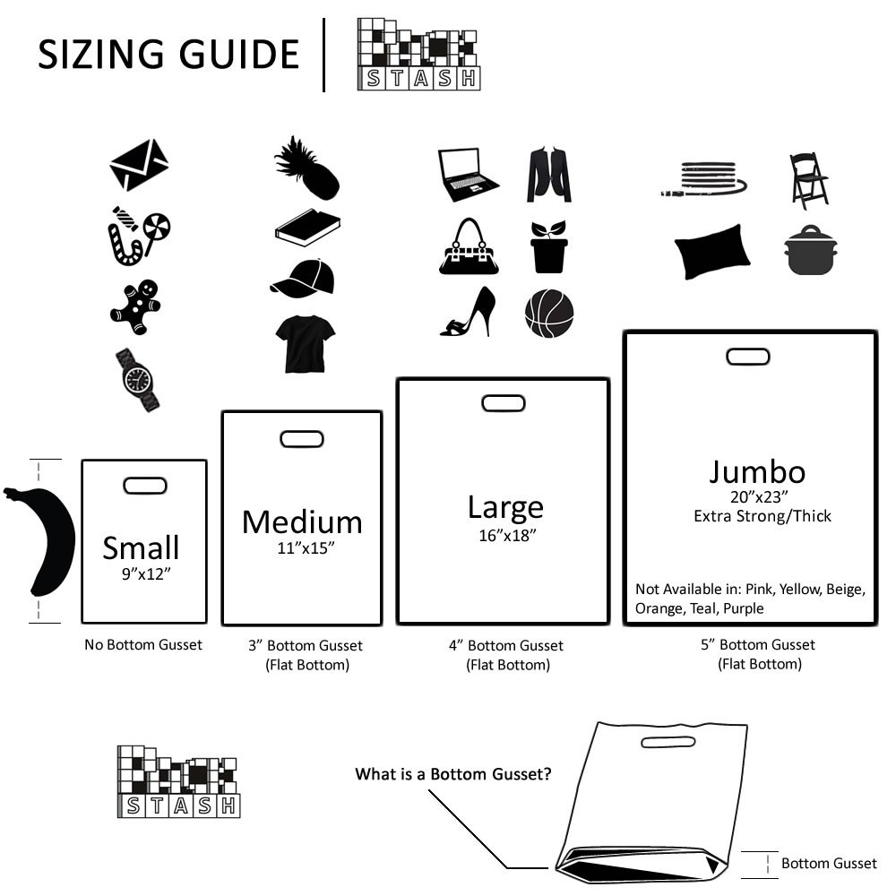 Packstash 11 x 15 x 3'' (100 Qty)-Inch Orange Retail Merchandise Plastic Shopping Bags - (Medium) Premium Tear-Resistant Film, Double Thick Handles, Vibrant Glossy Finish