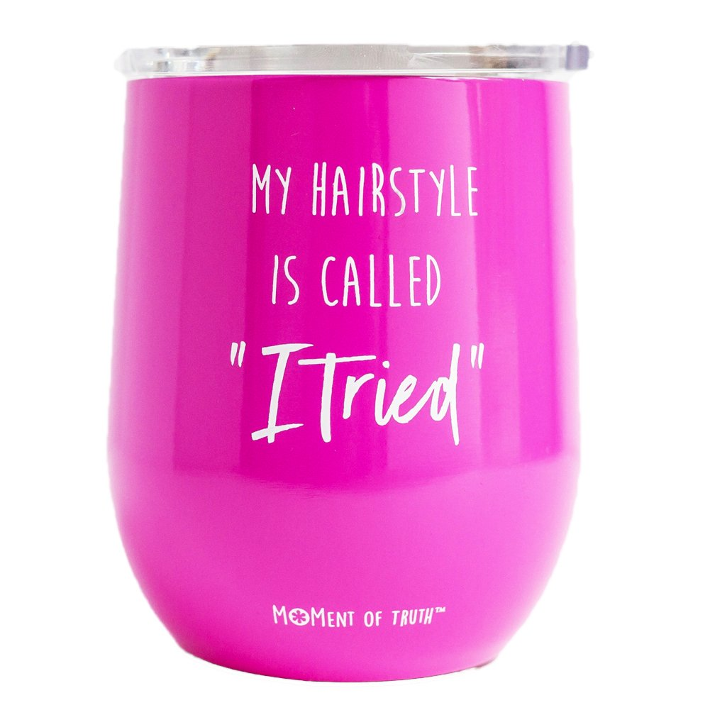 Mary Square 23229 Drink Hairstyle Stainless Tumbler 12 oz Hot Pink
