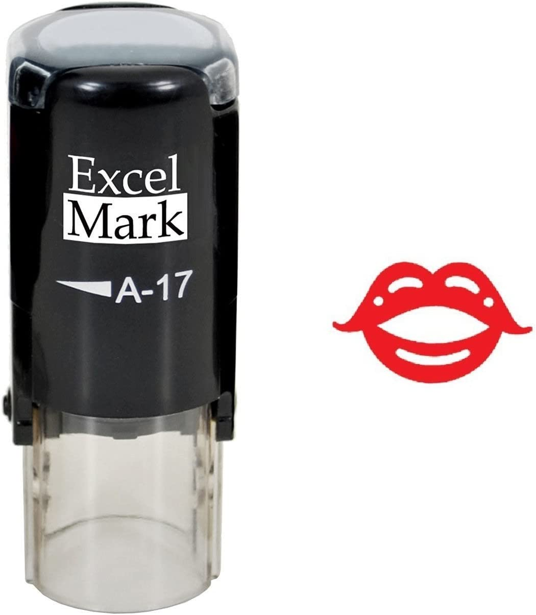 Lips - ExcelMark Self-Inking Rubber Stamp - Red Ink