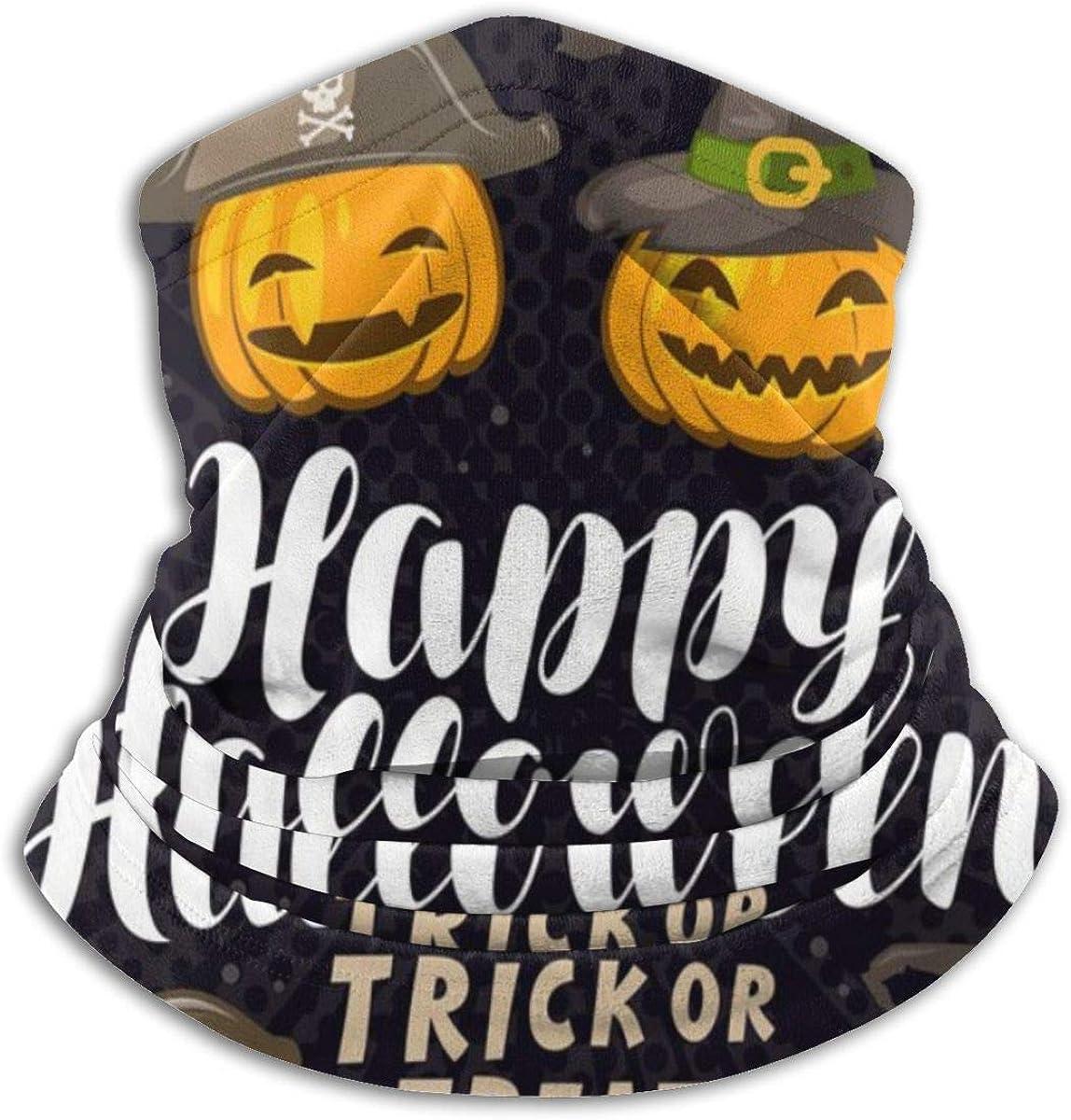 Happy Halloween Card Holiday Running Neck Warmer Protective Balaclava Bandana Microfiber Tube Neck Gaiter Cover for Men Women Personalized Black
